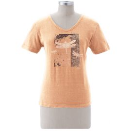 """Earth Creations Short Sleeve Women's Scoop NeckTop """"Dragonfly Diary"""", Sunstone"""