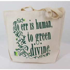"Grocery Bag ""To Err Is Human..."", Recycled Cotton Denim"
