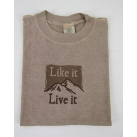 "Earth Creations T-Shirt ""Mountain (Like it, Live it)"", Sandstone"