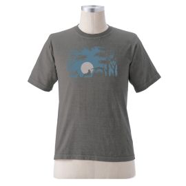 """Earth Creations Short Sleeve T """"Camping Scene"""", Charcoal"""