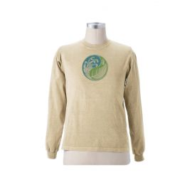"""Earth Creations Long Sleeve T """"Ying Yang Leaf"""", Natural"""