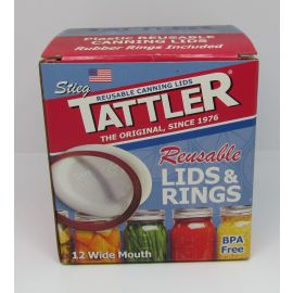 Tattler Reusable Canning Lids & Rings, 12-pack, Wide Mouth