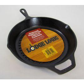 "Lodge Logic Cast Iron Ribbed Grilling Pan 10-1/4"" dia"