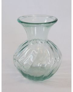 """5"""" 100% Recycled Glass Vase – Twirling Mold - Clear"""