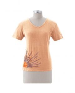 "Earth Creations Short Sleeve Women's Scoop Neck ""Sunrise"", Sunstone, Small"