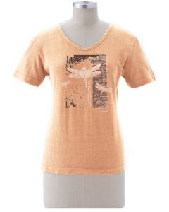"Earth Creations Short Sleeve Women's Scoop Neck Top ""Dragonfly Diary"", Sunstone"