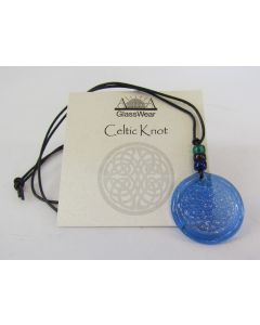 Aurora GlassWear Pendant Necklace-Celtic Knot-Cobalt