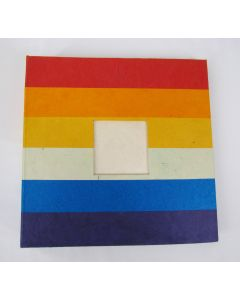 Nepalese Paper Photo Album with Acid-Free Protective Sheets, Rainbow Cover