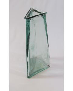"""13"""" 100% Recycle Glass Tall Vase-Pisa Triangle - Clear"""