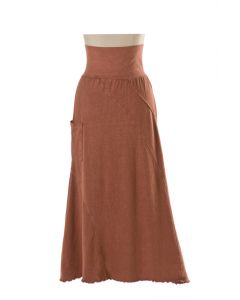 Earth Creations Villa Skirt, Hemp/Organic Cotton, clay dyed Cinnabar