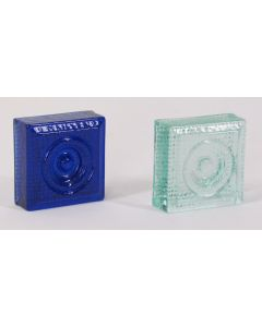 "Aurora GlassWear 2-1/2"" Ornamental Rosette Glass Block"