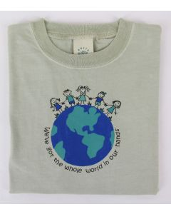 "Earth Creations Youth Short Sleeve T ""World In Our Hands"", Moss, Youth Large"