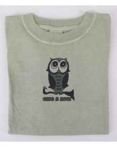 "Earth Creations Youth 100% organic cotton T ""Owl (Give a Hoot)"", Moss, Large"