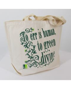 """Grocery Bag """"To Err Is Human..."""", Recycled Cotton Denim"""