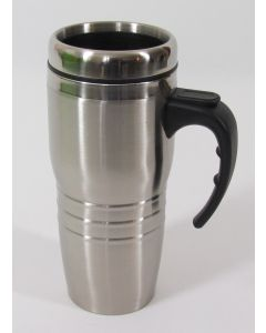 Tavel Mug, Stainless Steel, Double Walled w/Handle & Cap