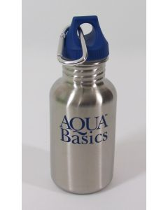 Aqua Basics 16 oz Water Bottle, 18/8 Stainless Steel, carabiner and loop cap