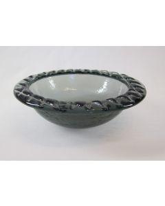 "Fire & Light 8"" Medium Bowl with stamped rim, Sea Grass"