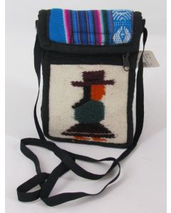 Small Purse-Ecuadorean front, Blue, Pink, White back w/belt loop