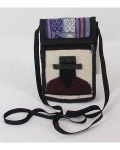 Small Purse-Ecuadorean front, Violet, Grey, White back w/belt loop