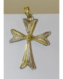 Spun Metal Cross Pendant, Silver/Gold