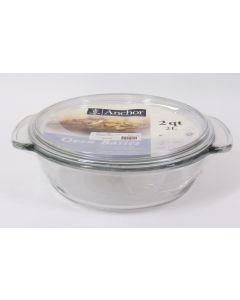 Anchor Hocking Round Casserole Dish w/cover, 2 qt