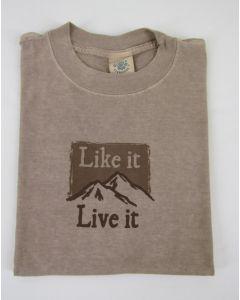 "Earth Creations T-Shirt ""Mountain (Like it, Live it)"", Sandstone"