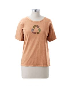 "Earth Creations Women's T-Shirt, Scoop Neck, ""Recycle Pattern"", Sunstone"