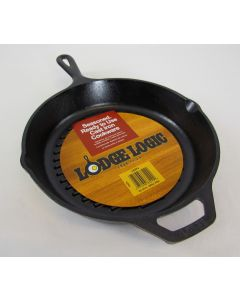"Lodge Logic Cast Iron Ribbed Grilling Pan 10-1/4"" dia"